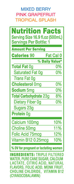 WaterNutritionLabel 1
