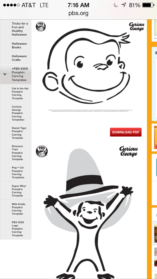 curious george pumpkin coloring pages - photo#13